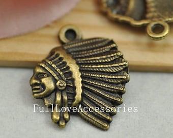 15pcs Antique Brass Indian Charm Pendant - 18x20mm Indian Chief Charms Pendant