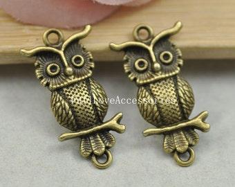 10pcs Antique Brass Cute Owl Charms Connector 15x33mm Antique Brass Charms Pendant