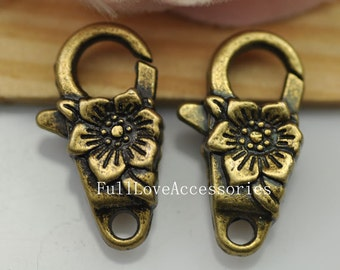 5pcs Big Antique Brass Plum Blossom Flower Lobster Claw Clasp 13x24mm