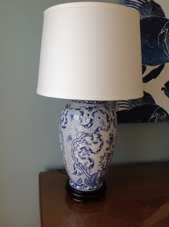 chinoiserie ginger jar lamp blue and white. Black Bedroom Furniture Sets. Home Design Ideas