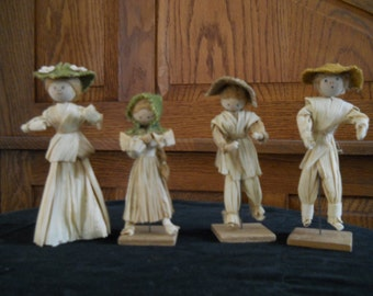 Farm Family, Vintage, Corn Husk, Halloween, Fall, Thanksgiving, Figurines, Treasury Pick Twice