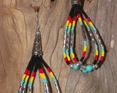 Hand Made Native American Style Earrings Colors of Turquoise, Red, Yellow, Black, Silver Country Southwestern Surgical Steel