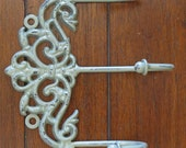 Shabby Chic Wall Hook / Cottage Chic Decor /Key Coat Hanger / Towel Holder / Necklace Headbands Jewelry Organizer / Sage Green or Pick Color