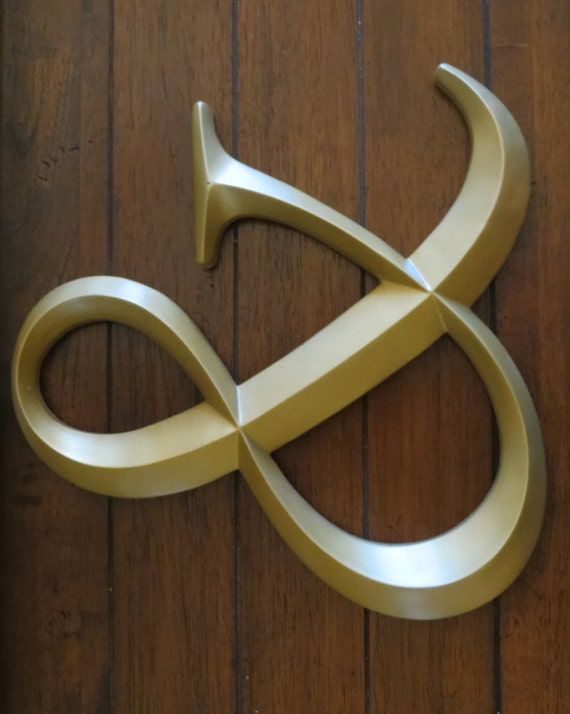 Ampersand/ Wedding Sign/ AND Symbol Sign/ Wall Letter/ Wedding Photo Booth Prop/Antique Gold