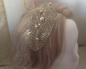 20% OFF Sale - Sparkling golden leaf pearls headband