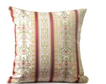 Burgundy Stripe Pillow Cover, Beige Pillow, Decorative Throw Pillow Cover