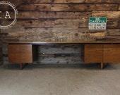 Vintage Mid Century Modern Glass Top Credenza Office Desk Eames Acton