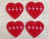 UNCUT Heartbeat EKG feltie embellishment of pulse on red felties (4)