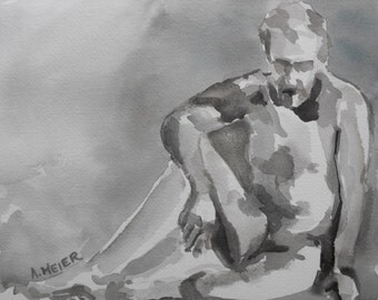 Original figure study, sepia washes on watercolour paper, from live male model, 9 X 12, Figure 53