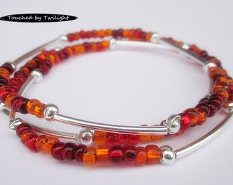 Seed and Noodle Bead Stretch Bracelet Set of 3   -   Red and Orange w/Silver Noodle Beads (SN101)