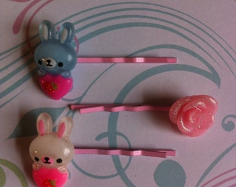Springtime kawaii bobby pins-bunnies cupcakes roses ice cream strawberries bobby pins-gift for her-Easter bobby pins-glitter bobby pins