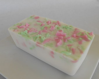 Soap Loaf Tropical Tuberose  - One Pound Glycerin Pink and Green Soap Loaves - LAST ONE