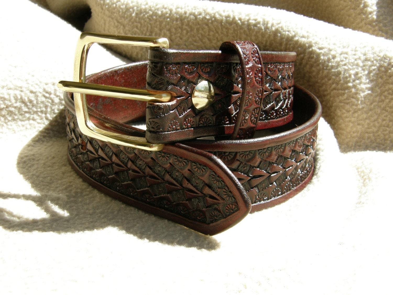 custom tooled leather belt arrow point by