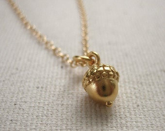 Acorn Necklace - 24K Gold Plated - Woodland Necklace, Nature Jewelry, Personalize