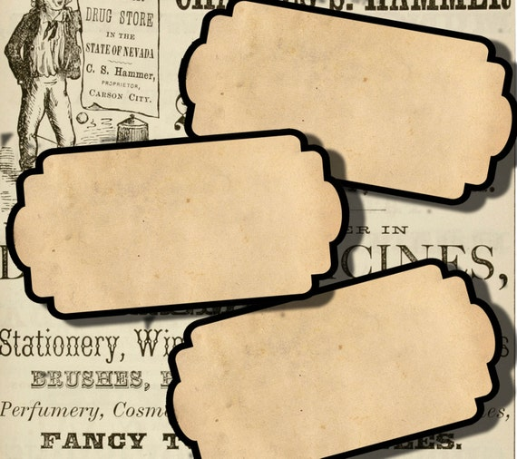 digital collage sheet blank apothecary labels