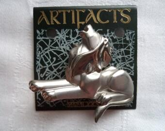 Vintage Signed JJ  Silver/Matt pewter Art Deco Roaring Lion Brooch/Pin