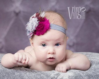 Plum and Gray Feathered Shabby Chiffon Newborn Headband, Baby Headband, Girl Headband, Teen and Adult Headband, Photo Prop!