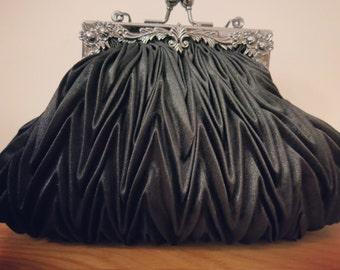 Beautiful pear shape pleated black satin clutch bag, evening clutch, evening purse, wedding clutch