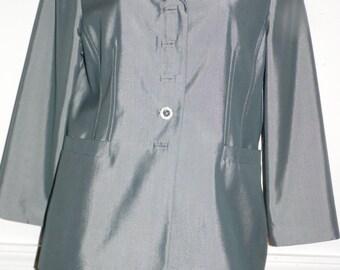Albert Nippon Suit Steel Gray Skirt Suit Size 12 P, Petite Knee length