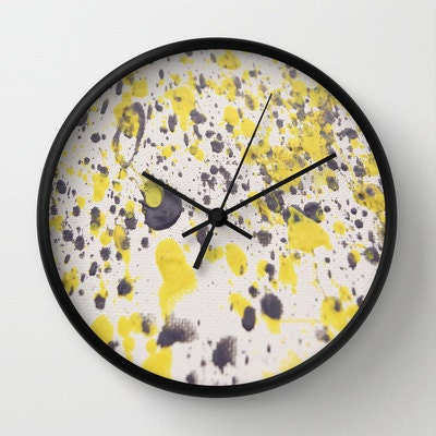 yellow gray abstract wall clock fine art photograph by klchome
