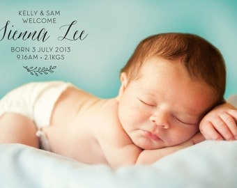 Baby Birth Announcement: Custom Baby Birth Announcement Printable Digital Download