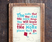 Dr Seuss Print for a Kid's Room - The more that you read... - Instant Download Wall Art 5x7 - Print at Home