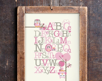 Cute Owl Alphabet Print for a Baby Girl's Nursery - Instant Download Wall Art - Print at Home