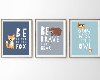 Cute Woodland  Prints for a Baby Boy's Nursery/Room - Set of 3 Prints 10% Discount - Instant Download Wall Art - Print at Home