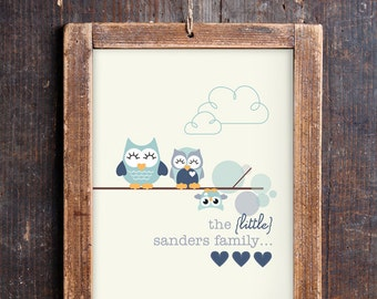 Cute Owl Family Print for a Baby Boy's Nursery - Owl Print - Instant Download Wall Art - Edit and Print at Home with Adobe Reader