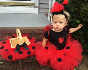 Complete Halloween Set, 6 Piece Ladybug Bumblebee Tutu Costume,  Reduced shipping, Infant, toddler Costume