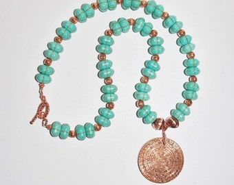 Gemstone Necklace - Turquoise and Copper with Aztec Myan Coin - S2362