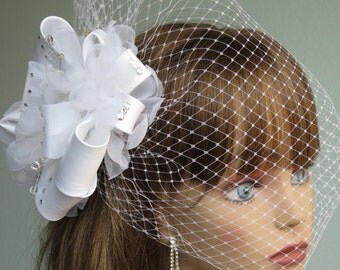 White Wedding Headpiece  Fascinator Wedding Hair Clip Wedding Accessory Crystals Satin Ribbon