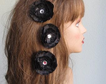 Black Flower Hair  Clip Wedding Accessory Hair Clip Bridal Accessory Crystals