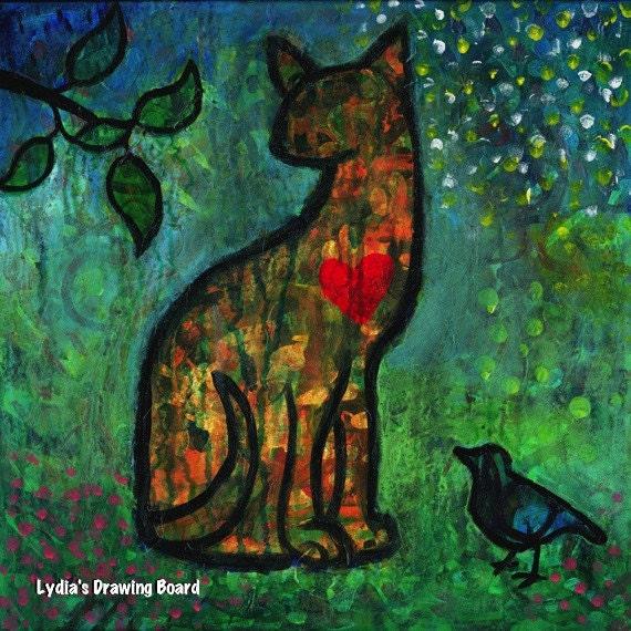 Note Cards, Notecards, Blank Cards, Cat, Cat Art, Cat Art Print, Cat Artwork, Cards, Small Art, Bird Art, Bird Artwork, Heart Art, Love