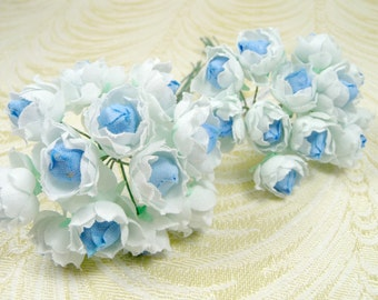 BOGO SALE Tiny Rosebuds Vintage Millinery Flowers NOS Bunch of 12 White Blue Tiny Roses for Weddings, Corsages, Party Favors 3FV0090B