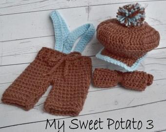 PATTERN Golf Set - Crochet - Cap Bow Tie Britches Suspenders