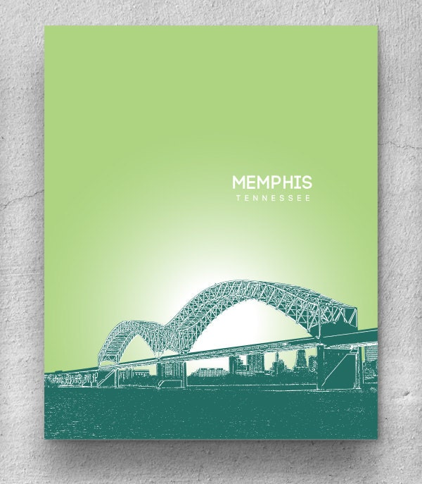 memphis tennessee skyline cityscape home decor art poster. Black Bedroom Furniture Sets. Home Design Ideas
