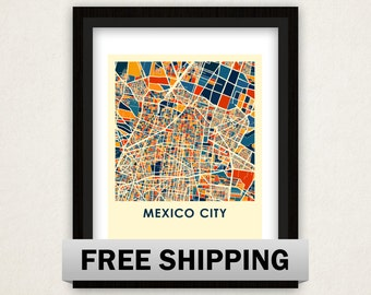 Mexico City Map Print - Full Color Map Poster