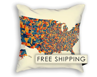 United States Map Pillow - United States Map Map Pillow 18x18