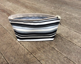 Cosmetic Pouch Cotton Black and Grey Stripe
