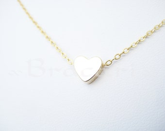 tiny gold heart necklace | delicate necklace | dainty jewelry | girlfriend gift | gift for her | by Bracari
