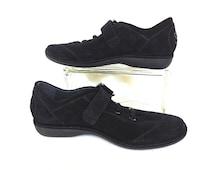 Vintage STUART WEITZMAN Sneakers/Black Suede Shoes/Leather Shoes/Athletic Shoes/Rockabilly Shoes/Casual Shoes/Retro 60s/Mens Size 10.5/Spain