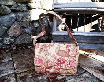 Peacock/floral print shoulder bag, messenger style.