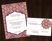 Printable DIY Moroccan Invitation No.95 - Purple Orange OR Blue Brown Wedding Invitation