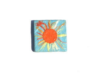 Sunburst Orange Sun Magnet ,Fridge Magnet ,Refrigerator Hand Made Wooden and rice paper magnet