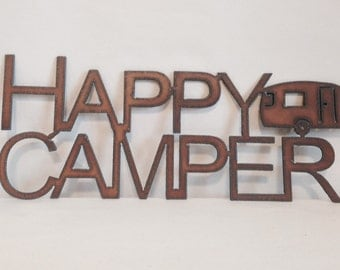HAPPY CAMPER Trailer Sign made of Rustic Rusty Rusted Recycled Metal