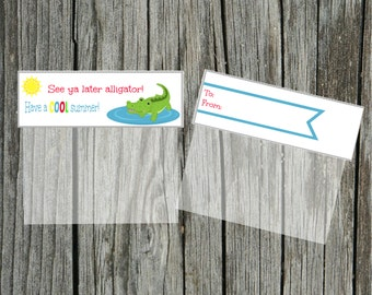 INSTANT Download See ya later alligator end of school SUMMER Goodie Treat Bag Topper  PRINTABLE Download - Fun Family Party diy