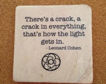 Leonard Cohen Quote Coaster Trivet Home Decor Dorm Room Decor