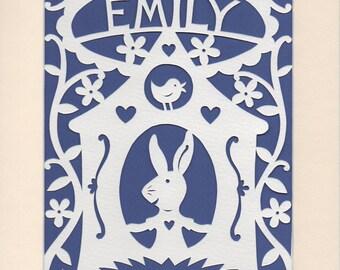 Children's Personalized Papercut, Bunny Rabbit House, Nursery Wall Art, Nursery Decor, Baby Gift,  Woodland Bunny, Woodland Nursery Decor