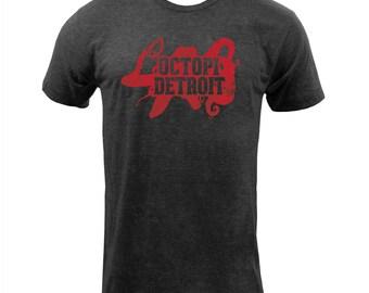 UGP Campus Apparel Octopi Detroit Octopus 001 American Apparel Mens T Shirt - Tri-Black